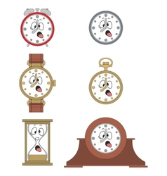 Cartoon funny clock face smiles 02 vector