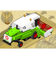 Isometric green thresher at work in rear view vector