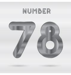 Metallic alphabet set of stainless 3d numbers vector
