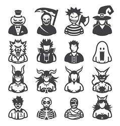 Halloween costumes icons vector