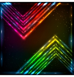 Shining neon arrows abstract background vector