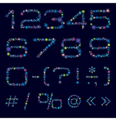 Festive numbers and symbols of bright color stars vector