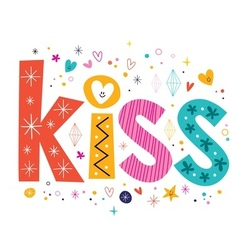 Word kiss lettering decorative text vector
