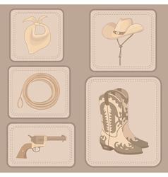 Set of cowboy items vector