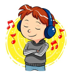 Listening to music vector