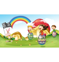 A bunny and kids with easter eggs vector