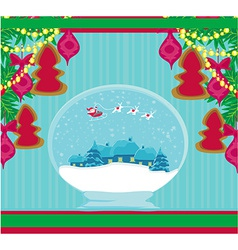 Santa claus in a glass ball vector