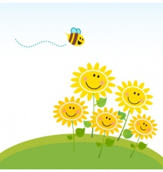 Cute honey bee with flowers vector