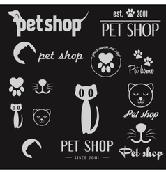 Set of vintage logo and logotype elements for pet vector