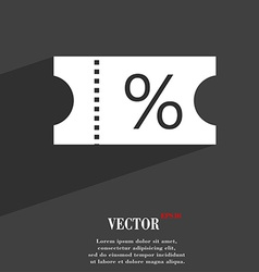 Ticket discount icon symbol flat modern web design vector