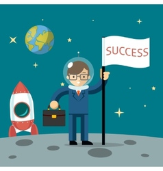 Successful businessman gets the moon vector