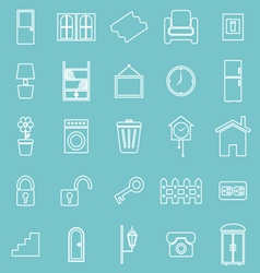 House related line icons on blue background vector