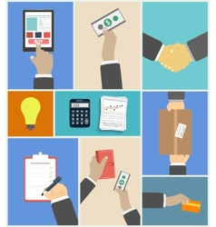 Set of business hands action concepts vector