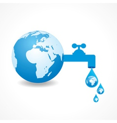 Save water concept with earth vector