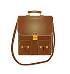 Tall leather bag with a long strap vector