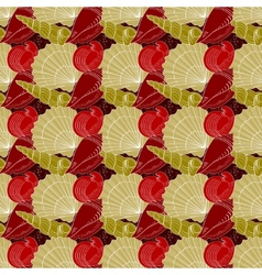 Seashells seamless pattern red gold white vector