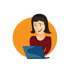 Cartoon of young woman with laptop vector