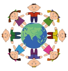 Children standing around earth vector