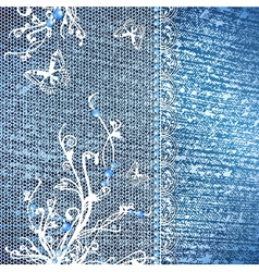 Jeans background with lace vector