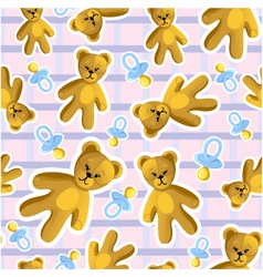 Seamless baby pattern with pacifier and teddy bear vector
