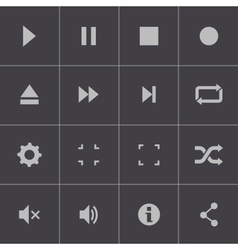 Black media player icons set vector