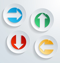 Paper modern arrow button set with shadow effect vector