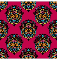 Red colorful damask flower seamless vector