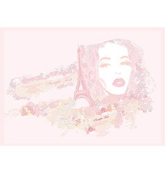 Beautiful girl portrait with tour eiffel on the vector