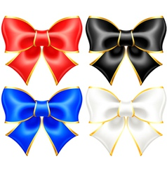 Black and white holiday bows with gold border vector