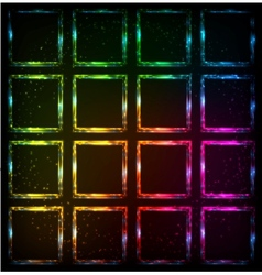 Rainbow neon squares abstract background vector