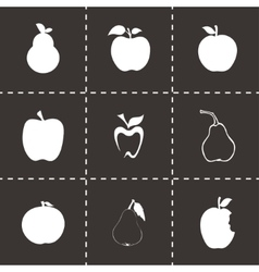 Apple and pear icons set vector