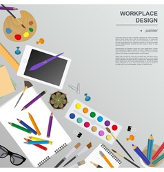 Workspace of the painter artist mock up for vector
