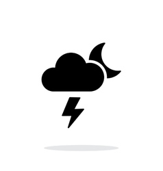 Lightning at night weather simple icon on white vector
