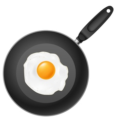 Frying pan with egg on white background vector