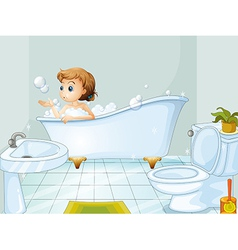 A young woman taking a bath in the bathtub vector