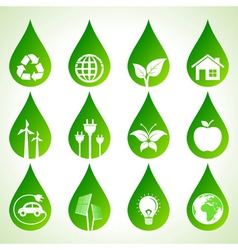 Set of eco icons on water drops vector