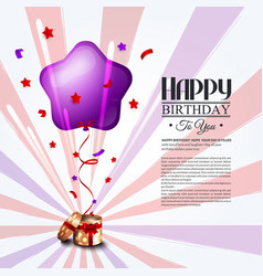 Birthday card with open gift box balloons and vector
