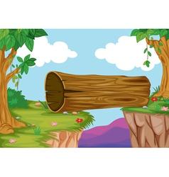 Wood bridge in nature vector