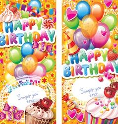 Happy birthday vertical cards vector
