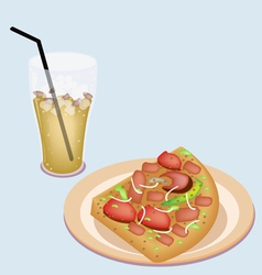 Delicious sliced pizza on dish with lemon iced tea vector
