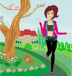 Jogging girl in spring vector