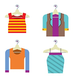 Colorful woman clothes on hanger vector