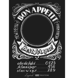Menu lettering on chalkboard vector