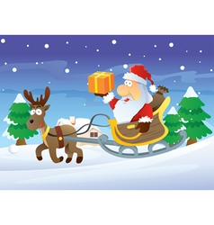 Santa and reindeer at christmas vector