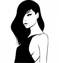 Woman with long dark hair vector