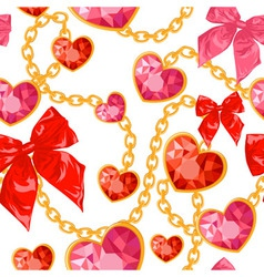 Ruby heart pendants hanging with golden chains vector