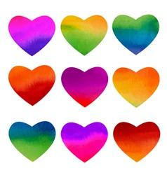 Set of watercolor rainbow hearts design vector