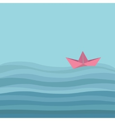 Origami paper boat and ocean sea waves flat vector