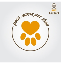 Logo badge or label for pet shop or veterinary vector
