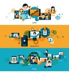 Mobile photos horizontal banners set vector